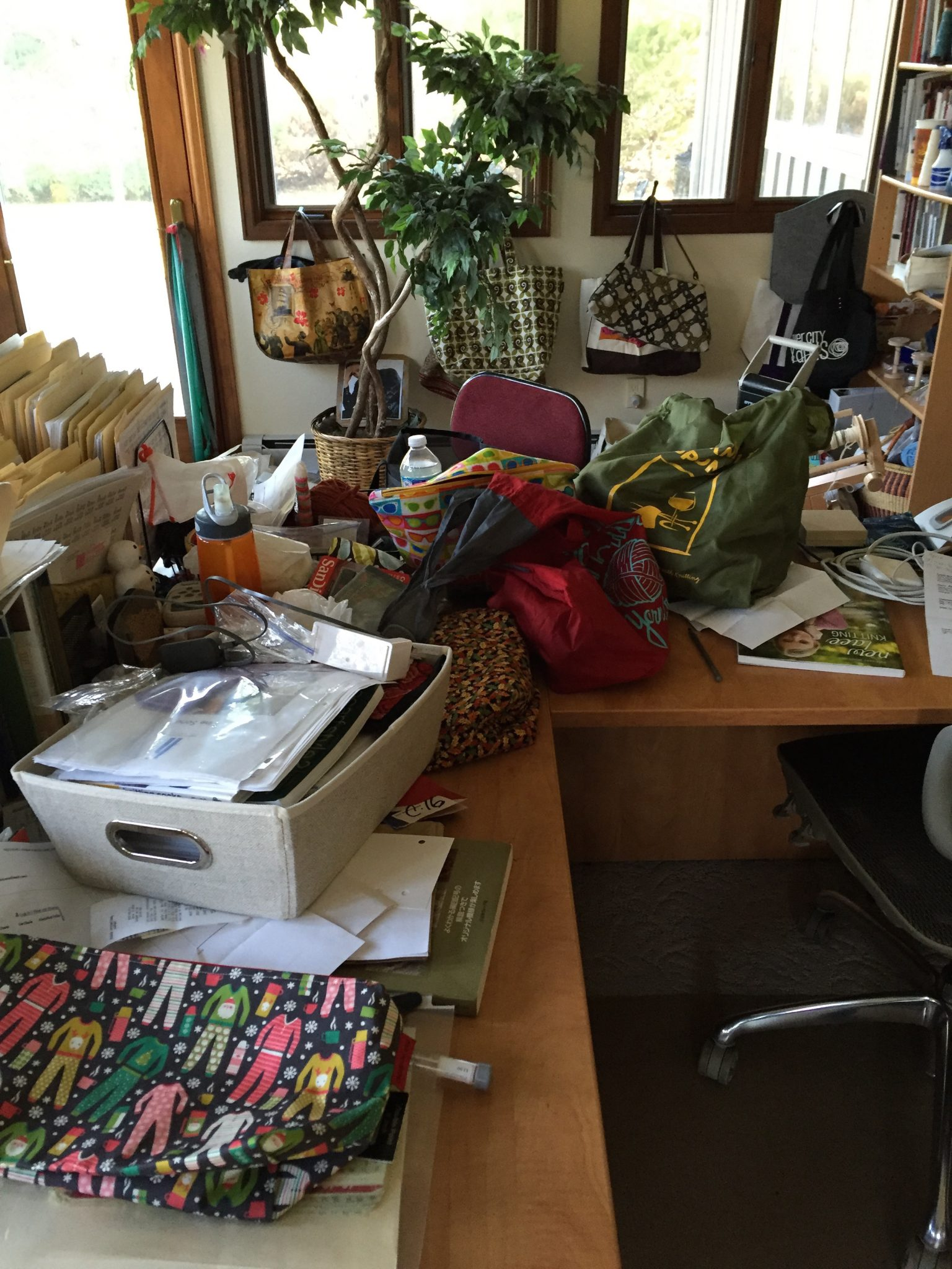 Mess at desk after Strung Along Retreat